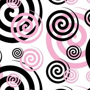 Pink Black Abstract Geometric Swirl
