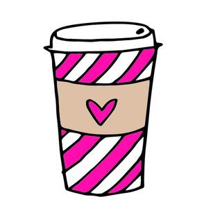 coffee // latte girls pink stripes coffee drink plush cut and sew plushie kids