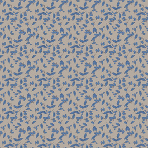 Barberries and leaves in taupe and French Blue