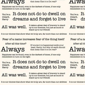 Harry Potter Quotes Cream Medium