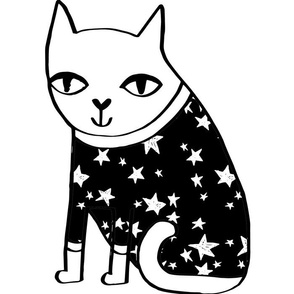 cat plush // plushie plush toy cut and sew black and white stars cute pet pillow cat pillow cat lady crafts