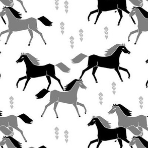 horses // black and grey horses running horses western
