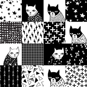 cat quilt // black and white quilt squares quilt design patchwork wholecloth cheater quilt cat lady cheater quilt