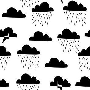Storm // black and white clouds rain lightning bolts minimal modern