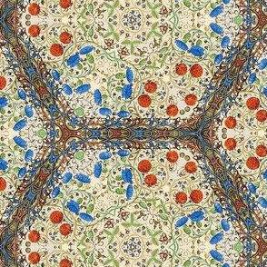 Medieval Kaleidoscope - Strawberries and Blue Thistles