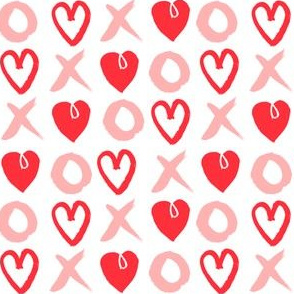 XOXO hearts // pink and red heart valentines love design