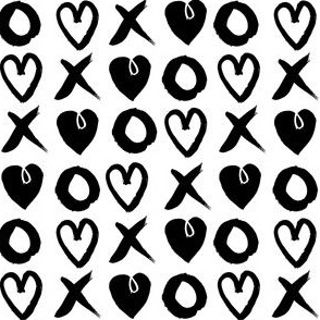 xoxo hearts // love black and white trendy valentines 2016 design