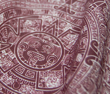 Aztec Calendar - maroon