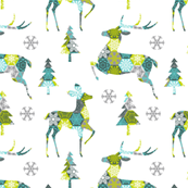 christmas deer • green, turquoise