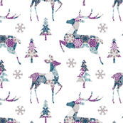 christmas deer - purple, gray