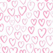 hearts // pink and white valentines love print sweet little pastel hand-drawn hearts