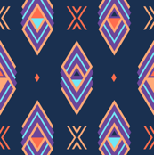Navy Aztec Diamond