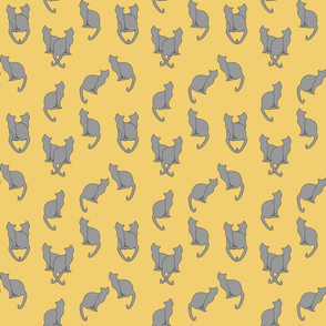 Haunted Gray Cats on Tan