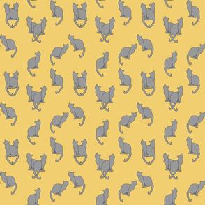 Haunted Gray Cats on Tan