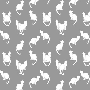 Haunted White Cats on Gray