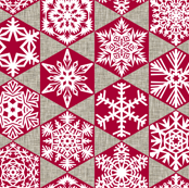snowflakes on canvas - red