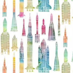 Watercolour Rockets - rainbow