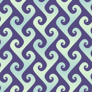 mint and blue tendrils on purple