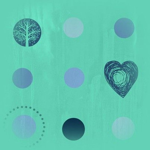 turquoise tree dot heart