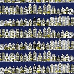 Amsterdam Row Houses (Dark Blue)