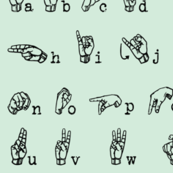 Sign Language Alphabet - Black and Jade