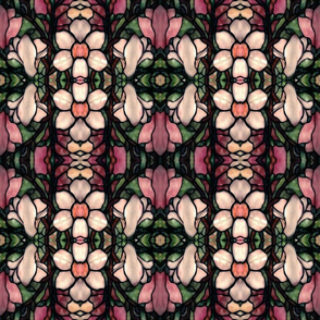 magnolia floral stained glass flowers