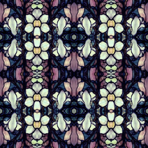 magnolia floral stained glass in purple