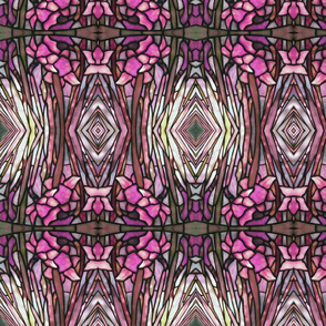 tiffany style stained glass floral in pink