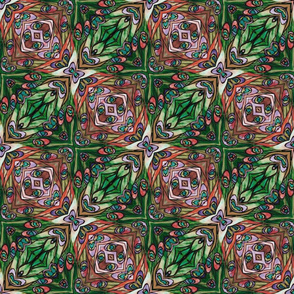 tiffany style stained glass squared red and green