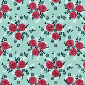 chrysanthemum // vintage style spring florals print in pastel mint and pinks