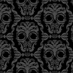 Scrollwork Skulls - black and gray