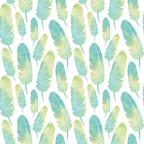 Watercolor Boho Feathers Pattern Green and Blue
