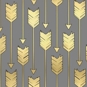 Tribal Arrows Pattern Fabric Grey and Golden