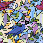 love birds - stained glass