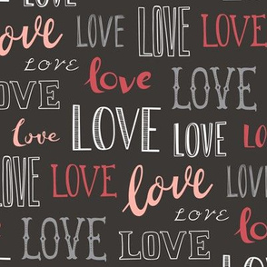 Love Word Typography Valentine on Black