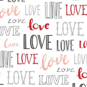 Love Word Typography Valentine Pink Red