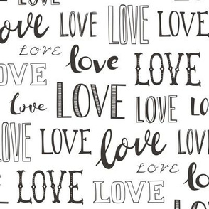 Love Word Typography Valentine Black&White