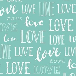 Love Word Typography Valentine Mint