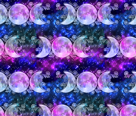 Triple goddess moons and stars fabric tracy dixon for Fabric with moons and stars