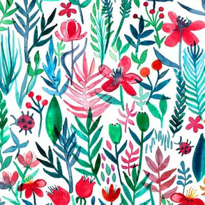 tropical ink watercolor garden on white