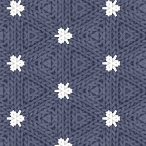Knitted White Stars on Dark Blue