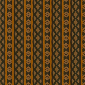 African Tribal in Brown, Black and Yellow