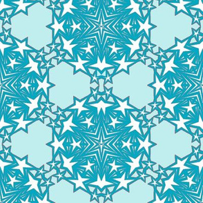 Teal and Sky Star Snowflakes