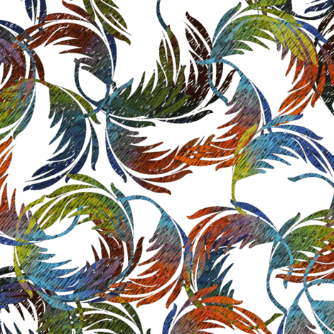 remnants of a pillow fight - parrot swirl on white