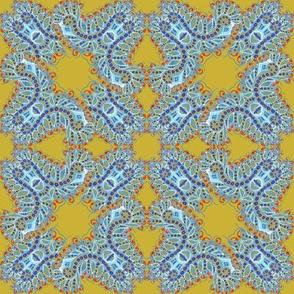 Feathery Blue and Yellow Kaleidoscope