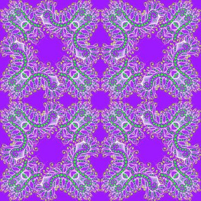 Feathery Purple and Green Kaleidoscope