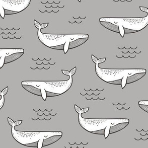 Whales on Grey