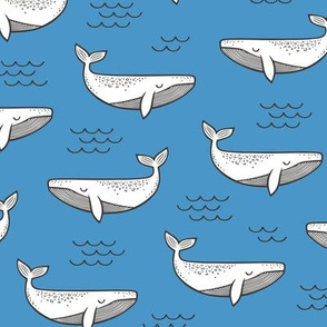 Whales on Blue