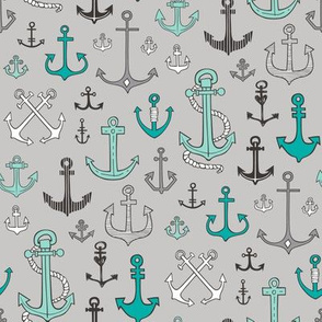 Anchors Black&White Mint Green on Grey