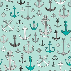 Anchors Black&White on Mint Green